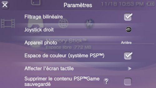 Le menu officiel de PSPemu