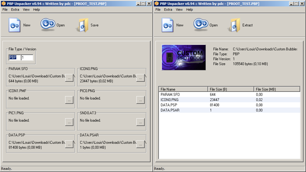 pbp unpacker pboot extraction création