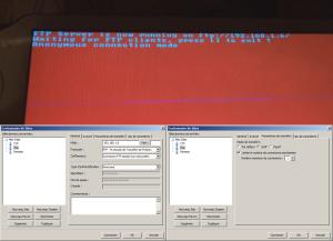 Au-dessus: l'écran de la Vita faisant tourner Vita FTP; En bas: les configurations de FileZilla à effectuer
