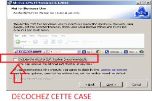 Screenshot décocher case barre outils Alcohol