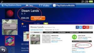 Steam Lands PlayStation Mobile Lightning Game Studios