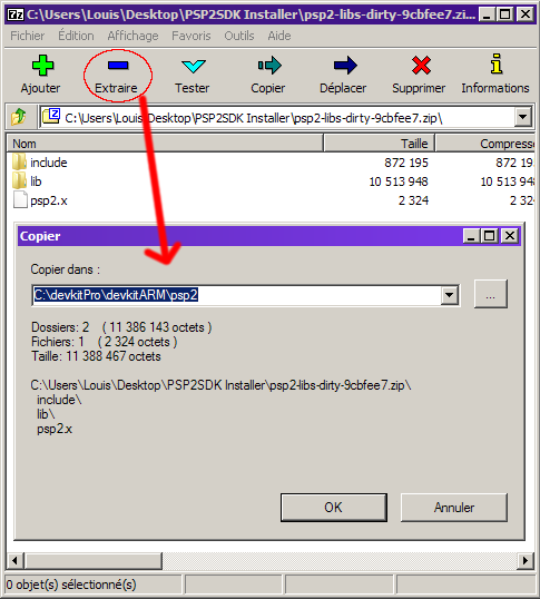 extraction 7zip fichiers psp2 libs dirty