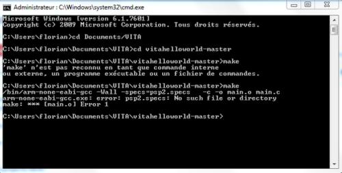 psp2sdk compilation make erreur cmd 1