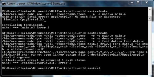 psp2sdk compilation make erreur cmd 2