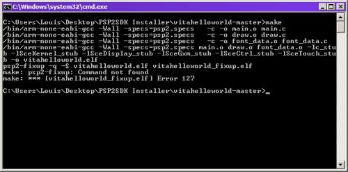 psp2sdk compilation make erreur cmd 3