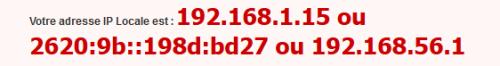 Votre adresse IP devrait s'afficher ici, dans mon cas 192.169.1.15.