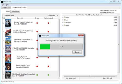 Cobra Black Fin 1.0 logiciel screenshot confirmation existence