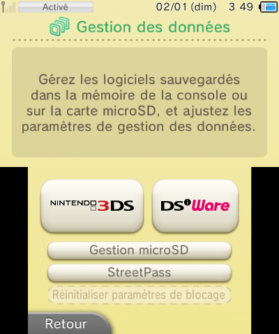 Gestion des donnees selectionner Gestion microSD