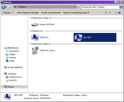 Réseau Windows ordinateur connexion 3DS par wi fi