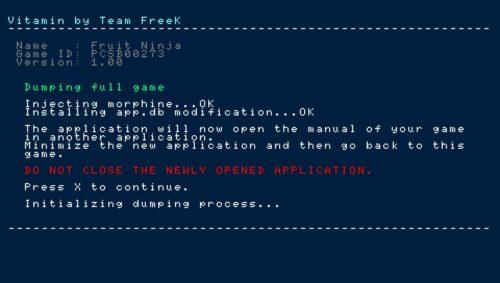 Vitamin screenshot initialisation processus dump