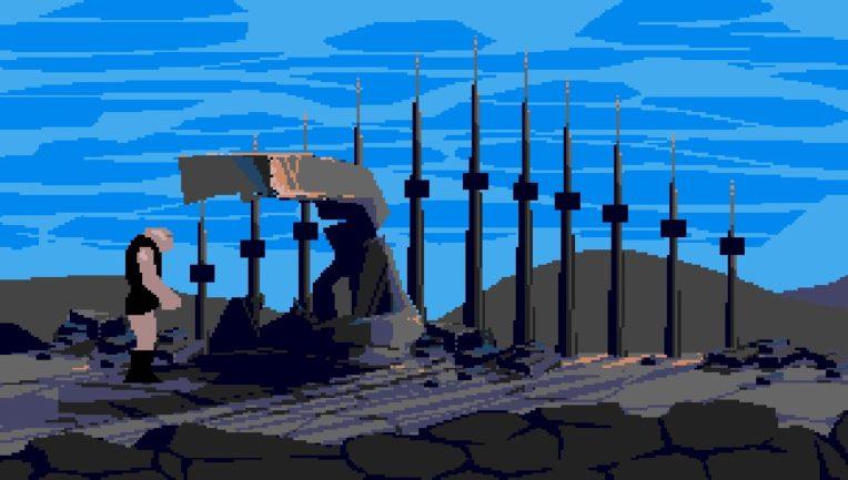 Notre héros, Buddy, visitant les ruines de ce que fût jadis son village