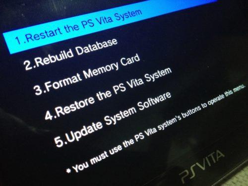 Le menu Recovery officiel de la PS Vita